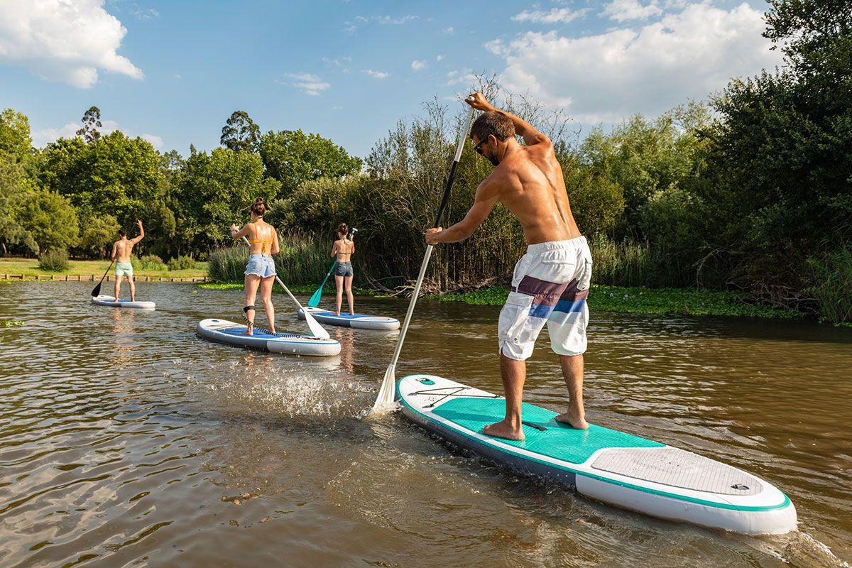 grupo de pessoas stand up paddle