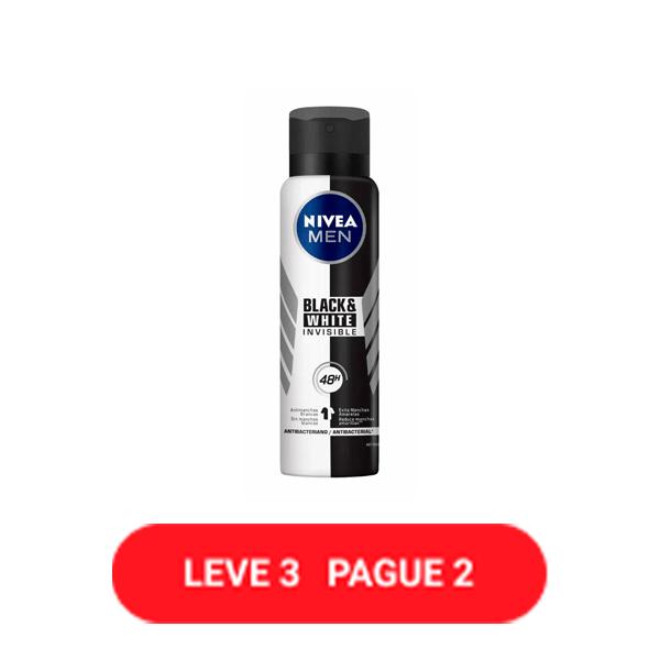 Desodorante Antitranspirante Aerosol Nívea Invisible for Black & White 150ml