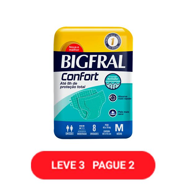 Fralda Geriatrica Bigfral Confort M com 8 Unidades