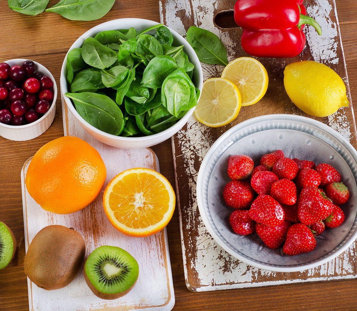 frutas e verduras variadas